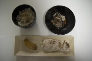 鯛めし、皮のポン酢和え、焼き鯛、鯛の子