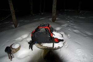 夜に泉ヶ岳到着