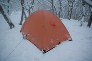 両サイドに張り縄したテント