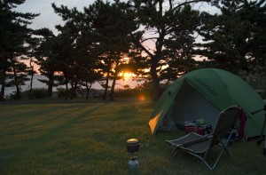 きららか野営場の夕暮れ