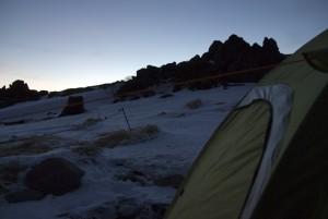 南沼指定キャンプ地の夕暮れ