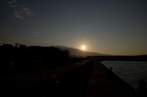 鳥海山の朝日