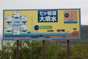 七ヶ宿湖の大噴水説明