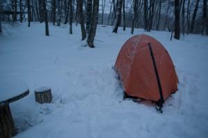 朝のテント