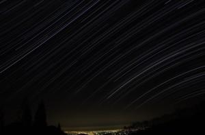 泉ヶ岳 夜景と星空 (コンポジット処理 & トリミング)