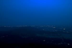 暮れた筑波山山頂